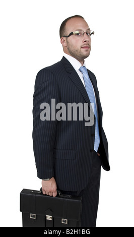 businessman with bag on isolated background - Stock Image