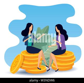 businesswomen sitting in the coins with elegant clothes - Stock Image
