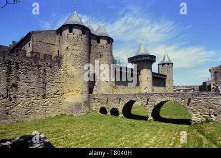 Main entrance to the fortified city of Carcassonne, Languedoc area France - Stock Image