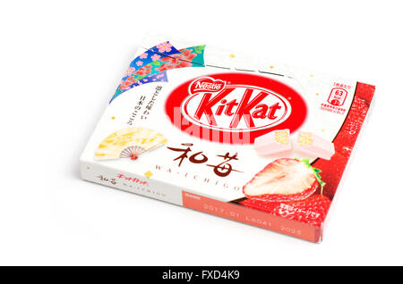 Box of Wa-Ichigo (strawberry) flavoured KitKats from Japan. - Stock Image