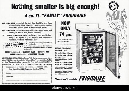 Original 1950s vintage old print advertisement from English magazine advertising Frigidaire refrigerator circa 1954 - Stock Image