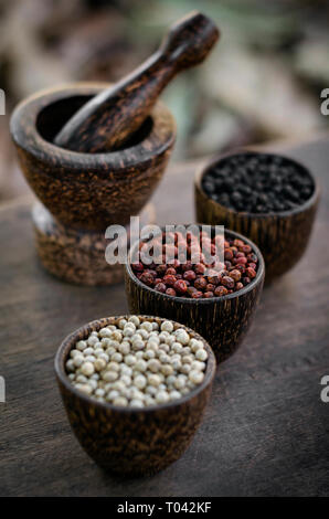 Organic kampot white red and black pepper corns in natural rustic style wood display in cambodia with traditional mortar and pestle - Stock Image