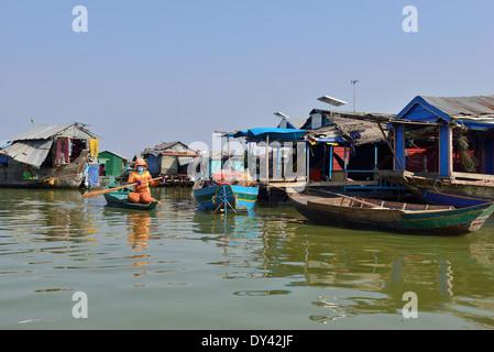 Floating school ,Floating House and Houseboat Tonle Sap lake, - Stock Image