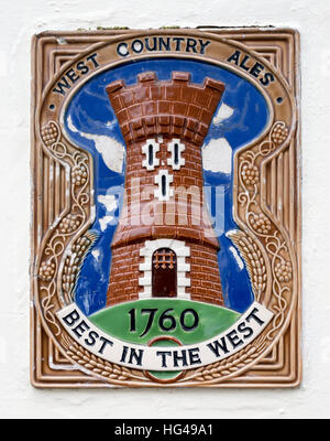 West Country Ales glazed pottery ceramic wall tile sign 'Best in the West' 1760 - Stock Image