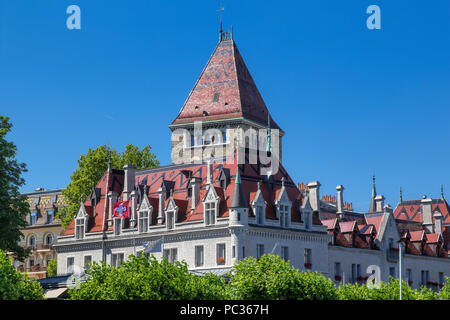 The castle of Ouchy at Lausanne - Stock Image