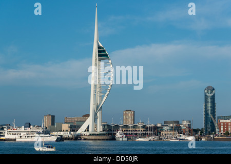 General view on a warm summers evening with a blue sky across Portsmouth Harbour to the Spinnaker Tower and One - Stock Image