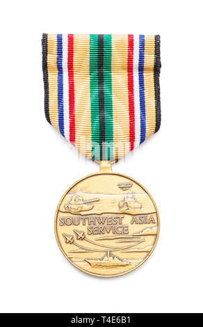 United States Air Force Southwest Service Asia Medal Cut Out on White. - Stock Image