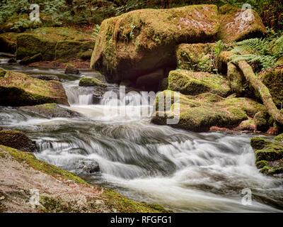 Golitha Falls on the River Fowey, near Liskeard in Cornwall, UK. - Stock Image