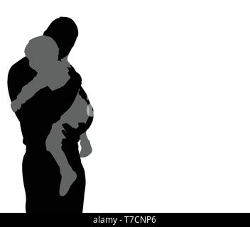 father carrying his son silhouette with copy space - vector - Stock Image