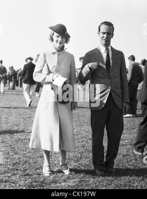 Mr & Mrs August Belmont Jr arrive at the Southampton Riding and Hunt Club steeplechase in Southampton, L.I. - Stock Image