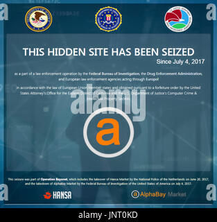 "'This Hidden Site Has Been Seized Since July 4, 2017"" US Department of Justice (DoJ), FBI, DEA and Europol screen displayed on AlphaBay contraband marketplace accessed via the TOR network. See below for more information. - Stock Image"