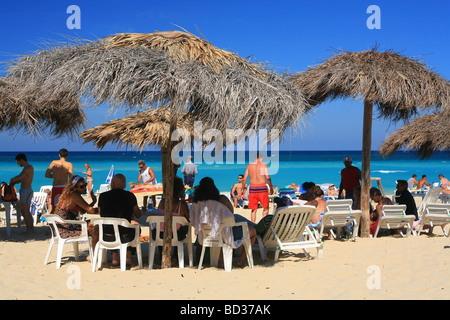 Cuba Playas del Este Thatched ranchitos on Playa Megano near Havana Photo CUBA1225 Copyright Christopher P Baker - Stock Image