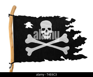 Torn Pirate Flag Isolated on White Background. - Stock Image