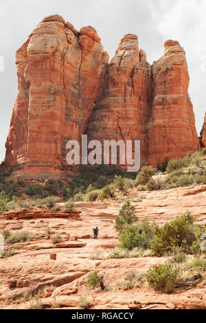 man hiking up the Cathedral Trail hiking - Stock Image