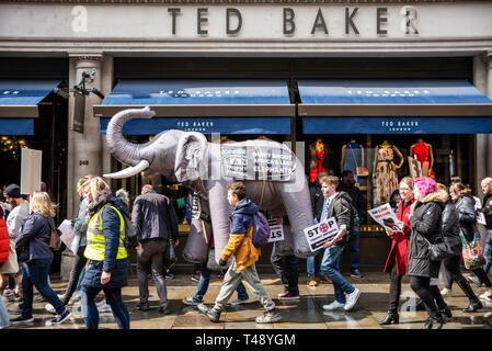 Protesters carry an inflatable elephant through streets of london at a stop trophy hunting and ivory trade protest rally London, UK. Passing Ted Baker - Stock Image