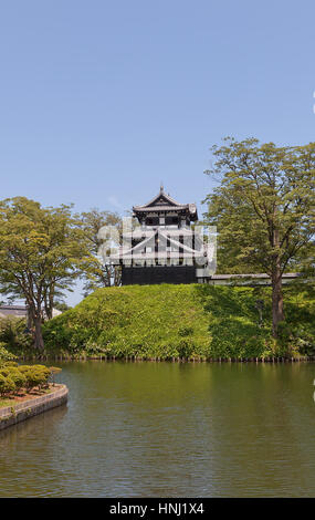 Reconstructed turret of Takada Castle in Joetsu, Japan. Castle was erected in 1614 by Matsudaira Tadateru, demolished - Stock Image