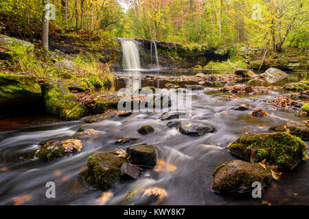 Wolf Creek Falls at Banning State Park in early Autumn. - Stock Image