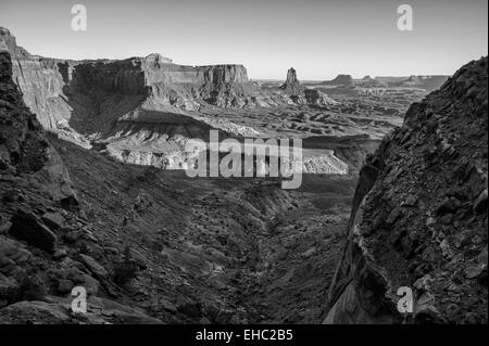 Canyonlands National Park Desert Landscape B&W - Stock Image