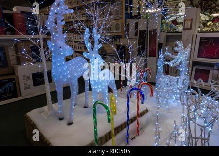Christmas illuminated reindeer on display - Stock Image
