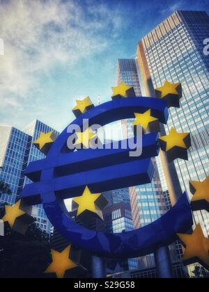 Euro Tower, home of European Central Bank and Euro Symbol, Willy Brandt Platz, Frankfurt-am-Main, Germany - Stock Image