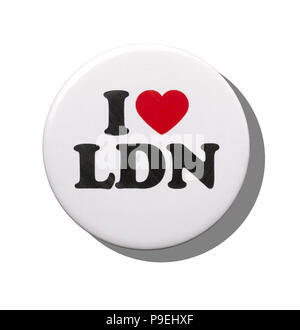 A white I love London badge - Stock Image