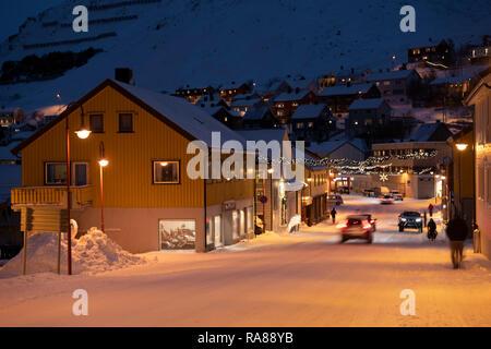 Main street in Honningsvag, Norway. - Stock Image