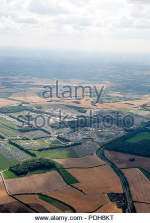 Winchester Hampshire UK 9th August 2018An aerial view over the Festival terrain of the BoomTown Festival Chapter 10 shows the immense size of the event on the Matterley Estate in Hampshire Credit: Richard Wareham Fotografie/Alamy Live News - Stock Image