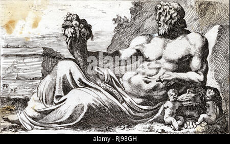 The best-known of the Roman river-gods, for obvious reasons ; depicted with Romulus, Remus and the she-wolf who raised them - Stock Image