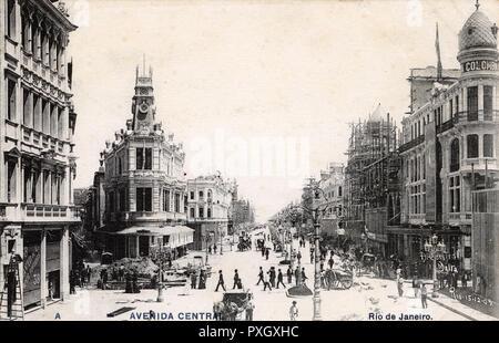 Avenida Central - Rio de Janeiro, Brazil - photograph taken on 15th December 1905.     Date: 1905 - Stock Image
