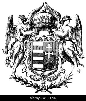 Coat of arms of Hungary, ,  (cultural history book, 1875) - Stock Image