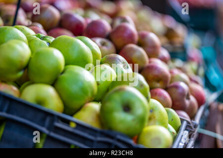 Fresh Green and Various Apples in a Market with Close Up Bokeh Background - Stock Image
