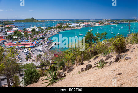 Marigot, St Martin: February 2015: Marigot, French capital of island of St Martin, Caribbean - Stock Image