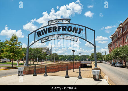 Welcome to Riverfront Montgomery Alabama sign at the entrance to a popular tourist attraction in downtown, Montgomery Alabama USA. - Stock Image