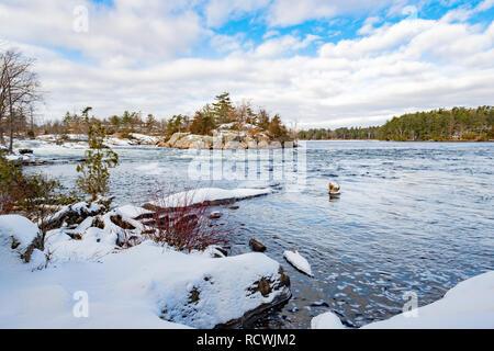 Stoney Lake downstream of Burleigh Falls near Peterborough Ontarip in winter. - Stock Image