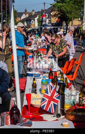 Street party on the day of the wedding of Prince William and Meghan Markle, May 19th., 2018, Fullers Road, London E18, England. - Stock Image