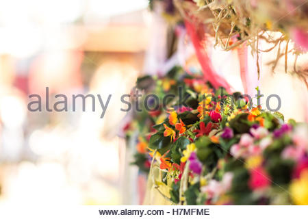 Colorful flower headbands mada by hand - Stock Image