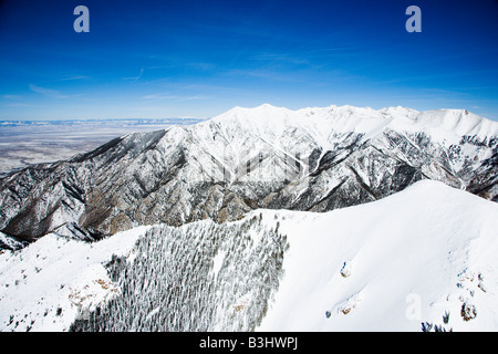 Aerial scenic of snowy Sangre De Cristo Mountains Colorado United States in winter - Stock Image