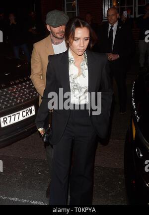 Celebrities at Marks Club in Mayfair during London Fashion Week  Featuring: David Beckham Victoria Beckham Where: London, United Kingdom When: 17 Feb 2019 Credit: WENN.com - Stock Image