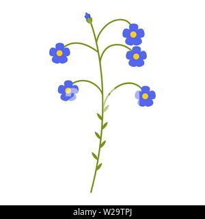 Flax blue flower flat icon, wild flowers, plant vector illustration isolated on white background - Stock Image