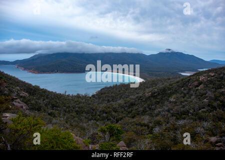 Wineglass Bay, Freycinet National Park, Tasmania on a cloudy day - Stock Image