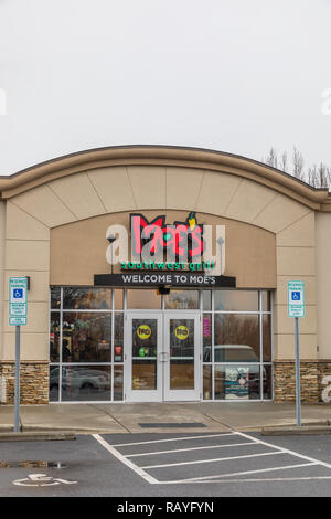 HICKORY, NC, USA-1/3/19: Moe's Southwest Grill, a fast food restaurant founded in Atlanta, GA. - Stock Image