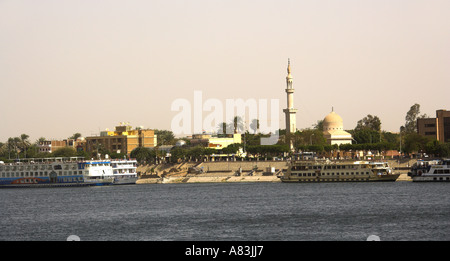 East Bank of the River Nile at Luxor Egypt from the West Bank - Stock Image