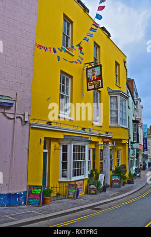 The Buccaneer Inn in Tenby's St Julien's Street, is a popular traditional pub for tourists and locals alike. Close to the town centre.Tenby, S.Wales - Stock Image