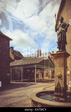 Historical market place in Allanche, Auvergne, Cantal, France - Stock Image