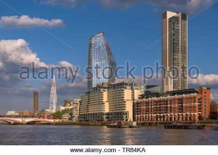 Sea Containers Hotel Complex, Bank Towers Cityscape River Thames, Oxo Tower & Wharf, One Blackfriars with The London Shard and Tate Modern UK - Stock Image