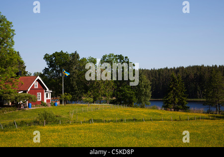 Swedish idyllic summer landscape with red cottage fields and swedish nationa flag - Stock Image
