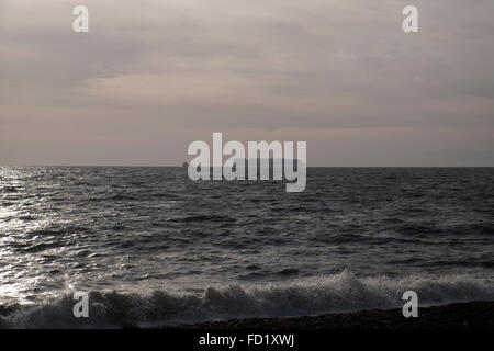 Container ship on the North Sea heading towards the Port of Felixstowe Suffolk UK - Stock Image