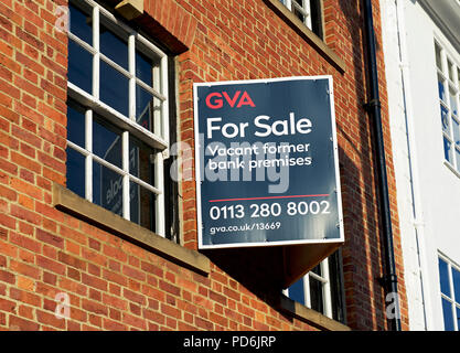 Bank for sale sign, England UK - Stock Image