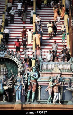 People walking on steps of Batu Caves temple during Thaipusam festival in Batu Caves, Selangor, Malaysia - Stock Image