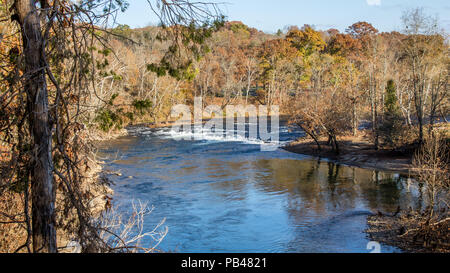 LIMESTONE, TN, USA-14 NOVEMBER 17:  The Nolichucky River, in early winter, at David Crockett Birthplace State Park. - Stock Image